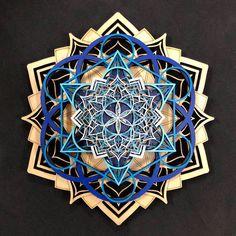 Lotus Mandala Wall Art - Seed of Life, Metatron's Cube, Alabone Inlays - Sacred Geometry Lotus Mandala, Flower Mandala, Laser Art, Laser Cut Wood, Laser Cutting, 3d Wall Art, Art Mural, Sri Yantra, Black Wood Stain