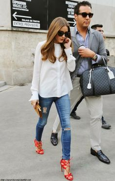 denim, white & red | Olivia Palermo