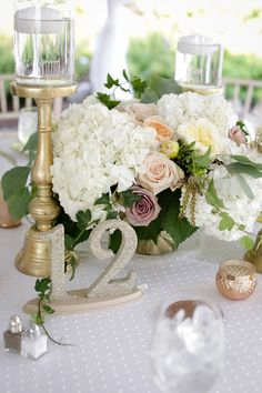 Photography: Clark + Walker Studio| Venue: The Inns of Aurora | Floral + Event Design: Stacy K Floral | #weddingcenterpiece #hydrangeacenterpiece #goldwedding