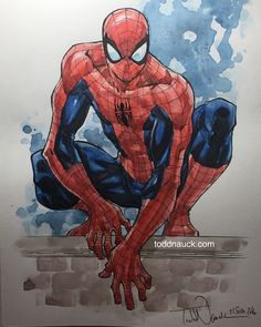 Spider-Man in pen/ink and watercolor. He'll be in my studio commission binder at NYCC. Drawn on Canson 140lb cold press watercolor board with Pigma Micron pens and Grumbacher watercolor paints.