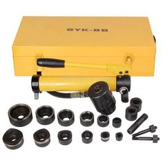 Yellow 10 Ton Hydraulic Punch Press w/ 6 Piece Tool Kit