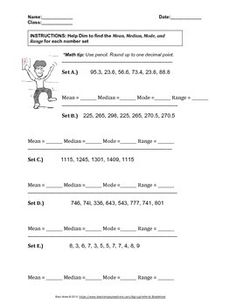 Mean Median Mode Range Worksheets with Answers