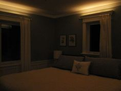 Rope lights in your crown molding on a dimmer... fab idea! Master bedroom and bathroom?