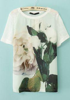 White Chinese Rose Print   T-Shirt