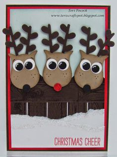 Stampin' up owl punch reindeer Christmas Punch, Noel Christmas, Christmas Paper, Handmade Christmas, Christmas Tables, Nordic Christmas, Modern Christmas, Homemade Christmas Cards, Homemade Cards