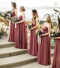 Gorgeous bridesmaid dresses - Autumn inspired colors in this romantic Carmel Valley wedding featured on layercake of our Mira + Inesse Dresses in Cinnamon Rose Luxe Chiffon photo by venue Fall Bridesmaid Dresses, Bridesmaid Flowers, Bridesmaid Colours, Bridesmaid Outfit, Different Colour Bridesmaid Dresses, Autumn Wedding Dresses, Autumn Wedding Colors, Romantic Wedding Colors, Fall Wedding Bridesmaids