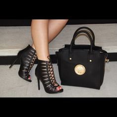"""Black lace up cutout booties New... Black PU material .., heel height 4.5"""".   Fits true to size trades holds ⚠️⚠️ firm unless bundling ⚠️bag also available $39 Shoes Ankle Boots & Booties"""