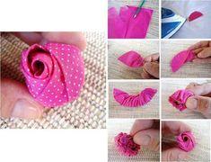 Paso a paso para hacer flor rosa de tela.