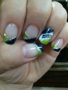 Seattle Seahawks nail art | 1St Seattle Seahawks shellac manicure #nails #nailart #embellishsalon