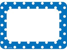 ***Stickers - Name Tag/Labels Blue & White Polka Dot