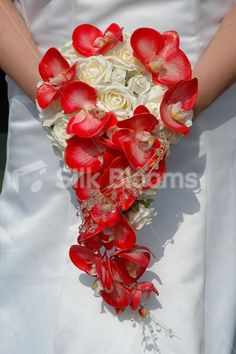 ivory and red wedding bouquets | Ivory Rose and Red Orchid Cascading Bridal Bouquet Beautiful Ivory ...