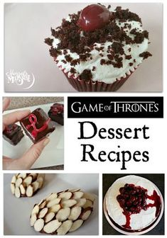 This week, Ive been featuring Game of Thrones recipes for the upcoming season premiere on Sunday. Ive made a bloody cake; dragon chocolate truffles; Tyrion Lannisters bite-sized cakes; and Castle Black cupcakes! I hope you and your friends enjoy these recipes with your viewing party! Game Of Thrones Boozy Red Wedding Cake House Targaryen Dragon Eggs Tyrion Lannisters Petit Fours Castle Black Forest Cupcakes Im looking forward to whats going to happen this season - I bet you are ...