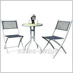 Garten Bistro Set 3 Tlg Balkon Hof Ess Gruppe Möbel Beistell Glas Tisch Klbar Ebay