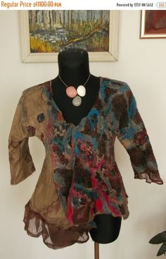 BohoHandmade merino wool and silk felted jacked eco by fripperyart