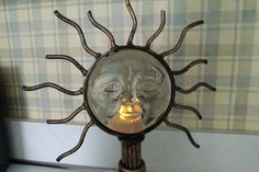 Sun God Candle Holder Excellent condition by BlueBarnCollectibles
