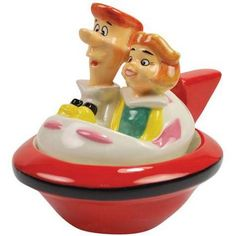 Jetsons George And Jane In Ship Salt And Pepper Shakers