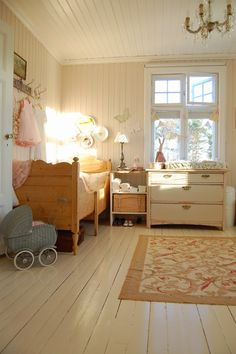 Fresh Farmhouse space for the littles Painted Wood Floors, White Wood Floors, Wood Flooring, Wood Paneling, Hardwood Floors, Deco Kids, Fresh Farmhouse, Country Farmhouse, Home And Deco