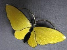 Sterling Yellow Enamel Butterfly Pin Aksel Holmsen Norway