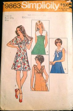 Simplicity 9863 1970s Misses V Neck Mini DRESS Pattern Cape Scalloped Sailor and Ruffle collar options womens vintage sewing pattern by mbchills