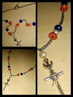 The Sacred Heart cross with pearls and orange & blue crystals by PerseveranceRoad, $20.00 (Go Gators)
