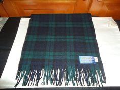 Vintage Pendleton USA Virgin Wool Unisex Scarf.  Blue/Green Tartan Plaid. Fringe #Pendleton #TartanPlaid