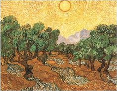 """Olive Trees with Yellow Sky and Sun"" by Vincent Van Gogh 
