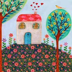 Folk Art, Little House Painting, Baby Nursery Decor, Nursery Art Print on Wood, Home Decor