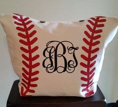 XL Monogrammed Canvas Baseball Tote Bag by ChicHippoDesigns