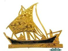 Fine-Vintage-Hand-Made-18k-Yellow-Gold-Sailboat-Brooch