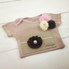 Classic Beige Beauty Onesie Set - Pink, cream, & Brown Chiffon Flowers - Newborn outfit - Baby Shower