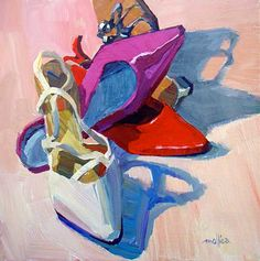 Wedding Bell Shoes (acrylic, 8×8) by Patti Mollica. Click the image to learn how painting daily can improve your art. ~ch #AcrylicArt #ArtInspiration #shoes