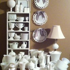 LOOK...my Milk Glass collection, inspired by Pinterest.  And my first personal post on Pinterest.  What fun.  Char :o) charchar1002