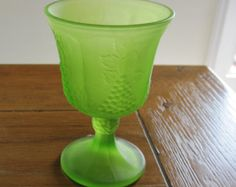 Indiana Satin Glass, Grape Decor, Green Frosted Goblet, 1930