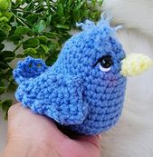 This sweet blue bird works up quickly with your favorite worsted weight yarn and a size G and F crochet hook. Make your bird any colors you like using basic crochet stitches and crocheting in the round.