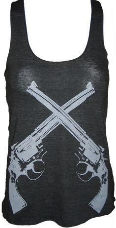 Revolver Guns Art Tank T-shirt Ladies American Apparel    M on Etsy, $20.00