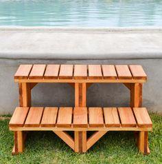 Redwood Spa Steps, Wooden Steps Made of Redwood