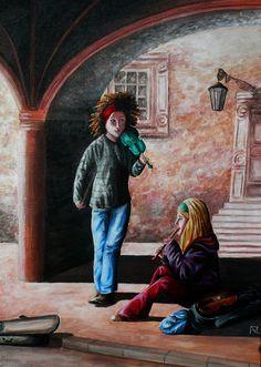 Painting «Street Musicians» by Nadine Lière, Acrylic on canvas board, 50 x 70 cm, 2014, grenadine-art.eu