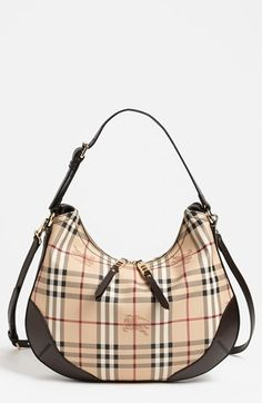 Burberry 'Datchett' Haymarket Check Hobo available at #Nordstrom