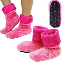 Pink Ribbon Fleece Booties at The Breast Cancer Site