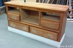 Good tips on converting drawers to open shelves on this dresser turned TV console | Sweet Pickins Furniture