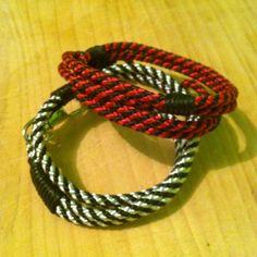 Pulseras doble cordón sintético rojo/negro , blanco/negro