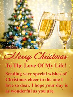 20 best romantic christmas cards images on pinterest christmas sparkling champagne romantic merry christmas card a beautifully decorated christmas tree and two glasses m4hsunfo
