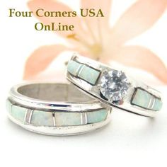 Four Corners USA Online - Bridal Engagement Ring Set Size 6 White Fire Opal Native American Silver Jewelry WS-1406, $225.00 (http://stores.fourcornersusaonline.com/bridal-engagement-ring-set-size-6-white-fire-opal-native-american-silver-jewelry-ws-1406/)