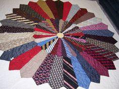 "Necktie quilt ""The Ties that Bind"" Quilting Projects, Quilting Designs, Sewing Projects, Quilting Ideas, Tie Crafts, Fabric Crafts, Wood Crafts, Necktie Quilt, Old Ties"