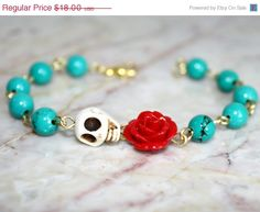 SALE Original Day of the Dead Green Turquoise Red Rose Frida Kahlo's Flower Jewelry Atlanta White Sugar Skull Bracelet