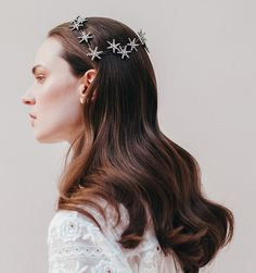 Sparkle all day and night in this stunning headpiece. The Celestial Coronet is a show-stopping constellation of hand set Swarovski crystal stars. Handmade in NYC.  We ship worldwide! Orders ship within 3-5 business days. Please email shop@jenniferbehr.com or call 718-360-1875 to request expedited shipping. We are a small team and are happy to answer your questions 10am - 6pm, Monday - Friday :) $1,125.00