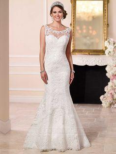 Bateau Illusion Lace Sweetheart Neckline Low Back Wedding Dress