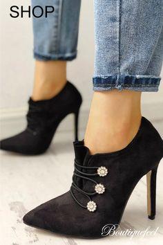 Suede Pointed Toe Bandage Thin Heeled Boots Högtidsskor 58d230981fd22