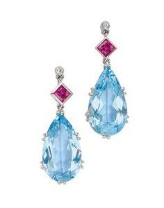 A Pair of Aquamarine, Ruby and Diamond Ear Pendants Diamond Earing, Aqua Marine, Pink Color, Happy Birthday, Pendants, Drop Earrings, Christmas Ornaments, Holiday Decor, Jewelry