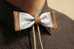 Bolo bow tie - leather and silk bolo, polka dot bow tie